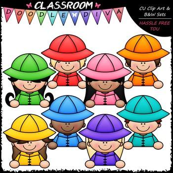 Colorful Raincoat Topper Kids Clip Art - Toppers Clip Art & B&W Set