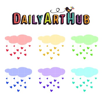 Colorful Raining Hearts Clip Art - Great for Art Class Projects!