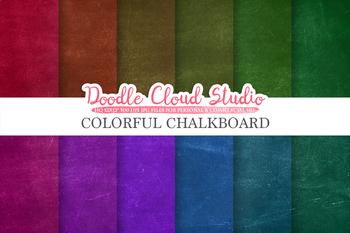 Colorful Real Chalkboard digital paper, Rainbow chalkboard Backgrounds.