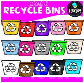 Colorful Recycle Bins Clip Art Bundle {Educlips Clipart}