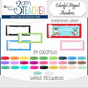 Colorful Ripped Paper Frames: Clipart/Graphics