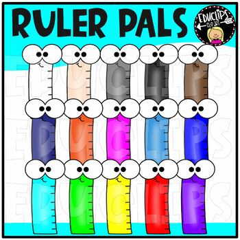 Colorful Ruler Pals Clip Art Bundle {Educlips Clipart}