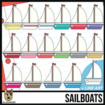 Colorful Sailboat Clip Art