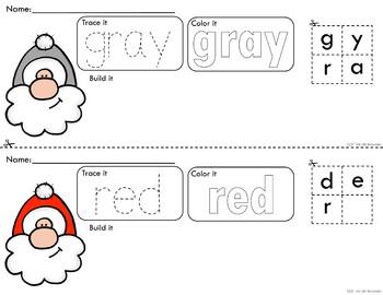 Rainbow Santa Trace Color and Build - Writing Center Activity