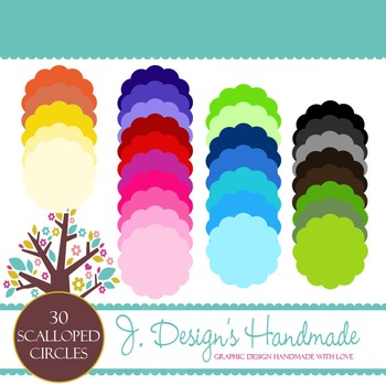 Colorful Scalloped Circles Clip Art - Clipart - Circles