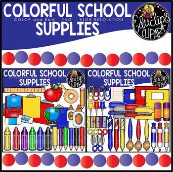 Colorful School Supplies Clip Art Bundle {Educlips Clipart}