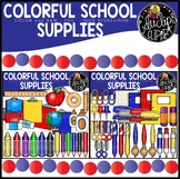Colorful School Supplies Clip Art Bundle {Educlips Clipart}