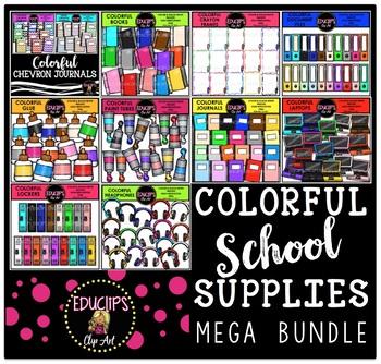 Colorful School Supplies Clip Art Mega Bundle {Educlips Clipart}
