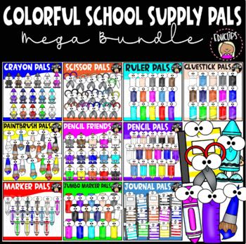 Colorful School Supply Pals Clip Art Mega Bundle {Educlips Clipart}