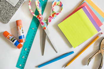 Colorful School Supply Stock Photos and Digital Paper #1