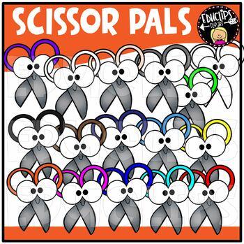 Colorful Scissor Pals Clip Art Bundle {Educlips Clipart}