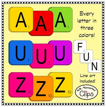 "Colorful ""Scrabble"" Inspired Letter Tiles - Clip Art"