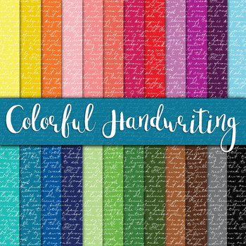 Colorful Script Handwriting - Digital Paper Pack - 24 Different Papers - 12 x 12