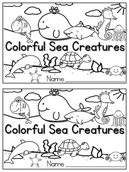 Colorful Sea Creatures Emergent Reader