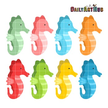 Colorful Seahorses Clip Art - Great for Art Class Projects!