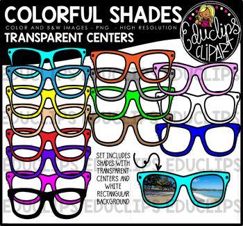 Colorful Shades - Transparent Centers Clip Art Bundle {Educlips Clipart}