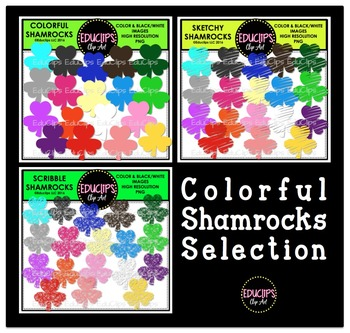 Colorful Shamrocks Clip Art Selection {Educlips Clipart}