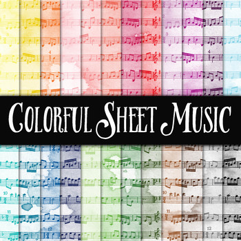 Colorful Sheet Music - Digital Paper Pack - 24 Different Papers - 12 x 12
