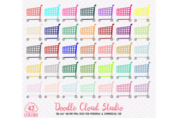 Colorful Shopping Cart Clipart Rainbow Shop Trolley  Grocery Store illustration
