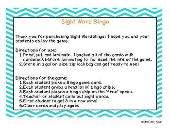Colorful Sight Word Bingo