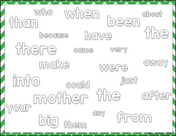 Colorful Sight Words Lists A-H PowerPoint Slide Shows