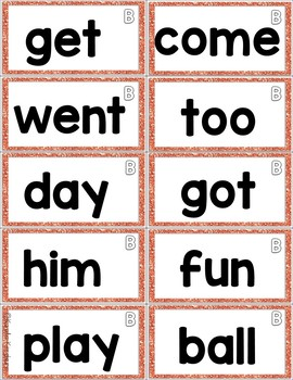 Colorful Sight Words for Word Walls Lists A-H