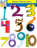 Colorful Silly Numbers Clipart Graphics 1-10