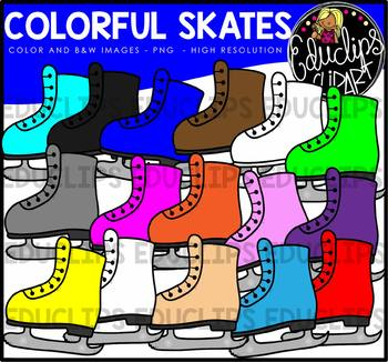 Colorful Skates Clip Art Bundle {Educlips Clipart}