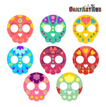 Colorful Skulls Clip Art - Great for Art Class Projects!