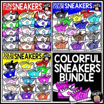 Colorful Sneakers Clip Art Bundle {Educlips Clipart}