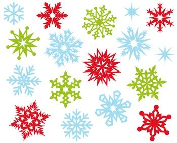 Colorful Snowflakes Clip Art