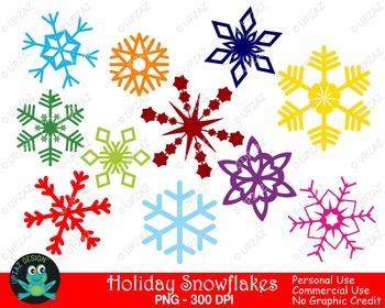 Colorful Snowflakes {Upzaz Digital Clipart}