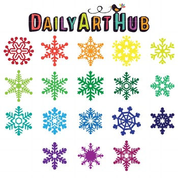 Colorful Snowflakes Clip Art - Great for Art Class Projects!