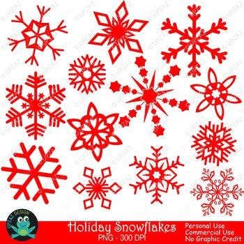 Red Snowflakes (Upzaz Digital Clipart)