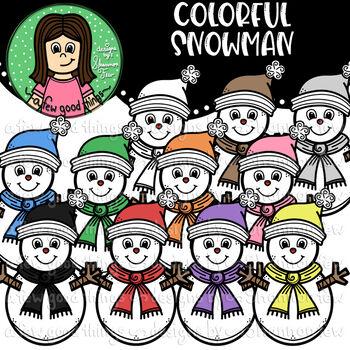 Colorful Snowman Clip Art