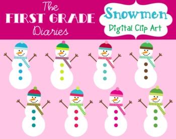 Colorful Snowmen {Digital Clip Art}