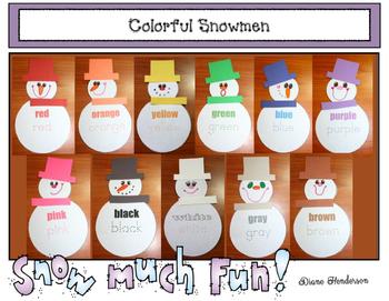 Colorful Snowmen: Games & Craftivity