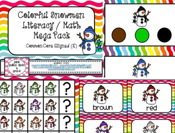 Colorful Snowmen Literacy and Math Small Group and Centers