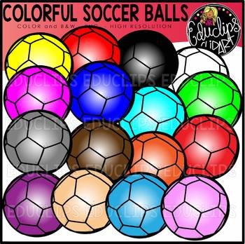 Colorful Soccer Balls Clip Art Set {Educlips clipart}