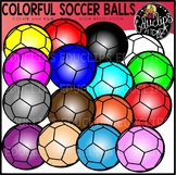 Colorful Soccer Balls Clip Art Set {Educlips clipart}