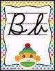Colorful Sock Monkey Cursive Alphabet Posters