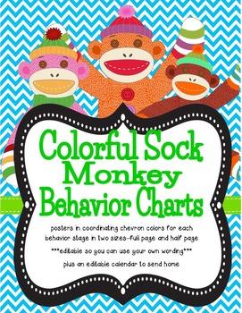 Colorful Sock Monkey Theme Behavior Tracking System ***editable***