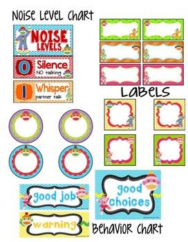 Colorful Sock Monkey Theme Classroom Organization and Decor Bundle