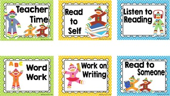Colorful Sock Monkey Theme Daily Reading Rotation Signs and Cards *editable*