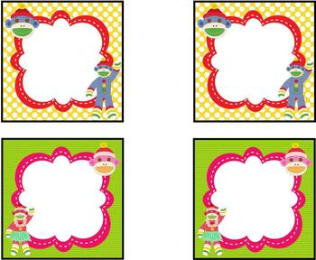 Colorful Sock Monkey Theme Labels *editable*