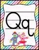 Colorful Sock Monkey Theme Print Alphabet Posters *includi