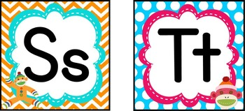 Colorful Sock Monkey Word Wall Headers & Pennants *including Spanish letters*