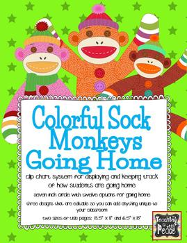 Colorful Sock Monkeys Theme Going Home *clip chart system*