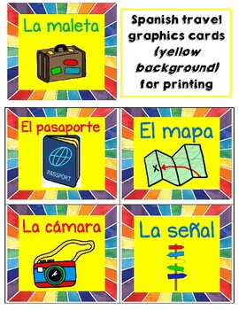 "Colorful Spanish cards with ""travel"" vocabulary/graphics"