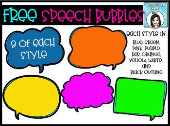 Colorful Speech Bubbles Clip Art Set